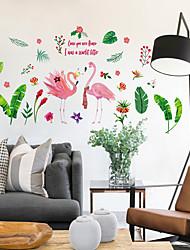 Недорогие -sk9308 зеленый лист завод фламинго домашний фон украшение стикер съемный