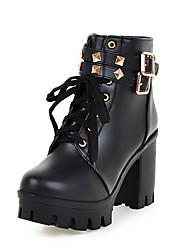 cheap -Women's Boots Chunky Heel Round Toe PU Booties / Ankle Boots Casual / British Fall & Winter Black / White