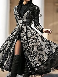 cheap -Women's Going out Elegant & Luxurious / Elegant Coat, Floral V Neck / Notch Lapel Long Sleeve Polyester Black