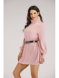 cheap -Women's Event / Party Daily Street chic Elegant Shift Dress - Solid Colored Patchwork Blushing Pink S M L XL
