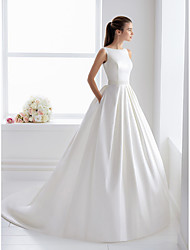 cheap -Ball Gown Wedding Dresses Bateau Neck Court Train Lace Polyester Regular Straps Elegant with Appliques 2020
