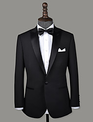 cheap -Black peak lapel wool custom tuxedo