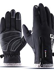cheap -Winter Bike Gloves / Cycling Gloves Touch Gloves Waterproof Windproof Warm Waterproof Zipper Full Finger Gloves Sports Gloves Fleece Black Pink Grey for