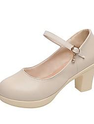 cheap -Women's Heels Chunky Heel Round Toe PU Summer Black / Beige