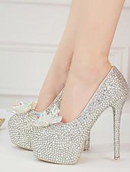 cheap -Women's Heels Stiletto Heel Round Toe Rhinestone / Crystal / Sparkling Glitter PU Vintage / Minimalism Fall & Winter Silver / Wedding / Party & Evening