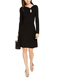 cheap -A-Line Little Black Dress Holiday Cocktail Party Dress V Wire Long Sleeve Short / Mini Jersey with 2020