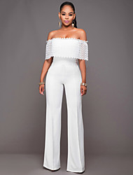cheap -Women's Black White Jumpsuit Onesie, Solid Colored S M L