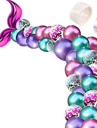 cheap -Mermaid Tail Balloon Garland Set Mermaid Tail Balloons Arch with 16ft Balloon Strip Tape for Under The Sea Mermaid Birthday Party Decoration