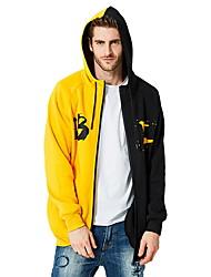cheap -Men's Basic Hoodie - Color Block Yellow US32 / UK32 / EU40