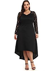 cheap -Women's Daily Wear Basic Sheath Dress - Solid Colored Patchwork Black XL XXL XXXL XXXXL