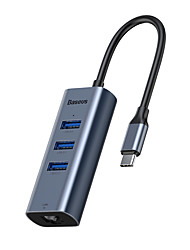 cheap -Baseus Enjoy Series Type-C to USB3.0*3 RJ45 Port HUB Adapter Grey