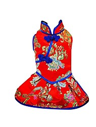 cheap -Dog Cat Pets Dress Dog Clothes Red Blue Costume Baby Small Dog Polyster Print Ethnic New Year's XS S M L XL