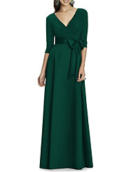 cheap -A-Line V Neck Floor Length Stretch Satin Dress with Sash / Ribbon by LAN TING Express