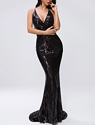 cheap -Sheath / Column Spaghetti Strap Sweep / Brush Train Sequined Open Back Formal Evening Dress with Sequin 2020