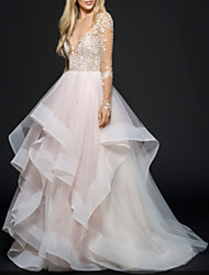 cheap -A-Line Wedding Dresses V Neck Floor Length Lace Tulle Long Sleeve Illusion Sleeve with 2020
