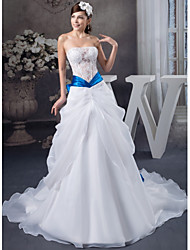 cheap -A-Line Wedding Dresses Strapless Chapel Train Lace Organza Satin Strapless with Lace Bow(s) Beading 2020