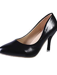 cheap -Women's Heels Stiletto Heel Pointed Toe Faux Leather / Patent Leather Classic / Minimalism Spring & Summer Black / Light Blue / White