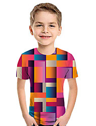 cheap -Kids Boys' Active Street chic Geometric 3D Patchwork Print Short Sleeve Hoodie & Sweatshirt Fuchsia