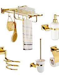 cheap -Solid Brass 5 Piece - Tower Bar/Toilet Paper Holders / Hair drier rack/Toilet brush/Soap dispenser Gold Plated Brass