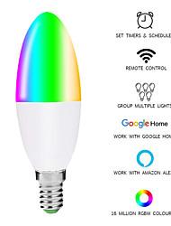 cheap -WiFi Intelligent Candle Bulb Alexa / Google Home Voice Control LED Tip Bubble - (E27 AC85-265V)