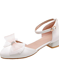 cheap -Women's Heels Low Heel Round Toe Bowknot PU Casual / Minimalism Spring & Summer Almond / White / Pink