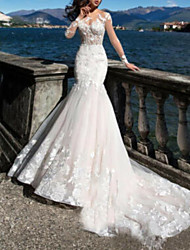 cheap -A-Line Jewel Neck Sweep / Brush Train Tulle Long Sleeve Wedding Dresses with Beading / Appliques 2020