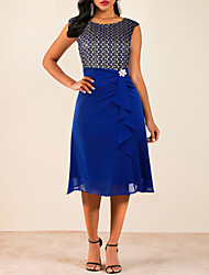 cheap -Women's Blue Dress Going out A Line Solid Colored Ruched Print M L