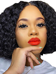 cheap -Human Hair Lace Front Wig Bob Short Bob Free Part style Brazilian Hair Curly Kinky Curly Black Wig 130% Density with Baby Hair Natural Hairline For Black Women 100% Virgin 100% Hand Tied Women's Short