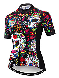 cheap -21Grams Sugar Skull Women's Short Sleeve Cycling Jersey - Red Bike Jersey Top Breathable Moisture Wicking Quick Dry Sports Polyester Elastane Terylene Mountain Bike MTB Road Bike Cycling Clothing