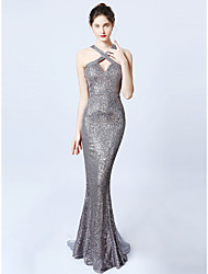 cheap -Mermaid / Trumpet Cross Front Floor Length Sequined Sexy / Sparkle & Shine Prom / Formal Evening Dress with Sequin 2020