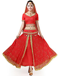 cheap -Belly Dance Outfits Women's Performance / Theme Party Chiffon / Milk Fiber Scattered Bead Floral Motif Style / Lace / Gold Coin Short Sleeve Natural Skirts / Top / Headpiece