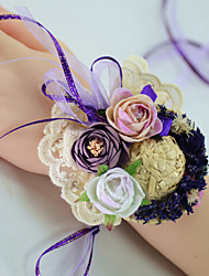 """cheap -Wedding Flowers Wrist Corsages Wedding Party / Birthday Party Lace / Fabrics 3.54""""(Approx.9cm)"""