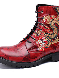 cheap -Men's Fashion Boots Nappa Leather Winter / Fall & Winter Classic / Vintage Boots Warm Mid-Calf Boots Black / Red / Party & Evening