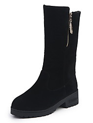 cheap -Women's Boots Flat Heel Round Toe Suede Mid-Calf Boots Fall & Winter Black
