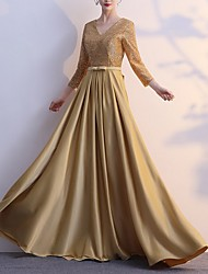 cheap -A-Line V Neck Floor Length Satin Dress with Sequin / Bow(s) by LAN TING Express