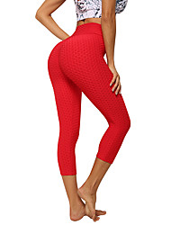 cheap -Women's High Waist Yoga Pants Ruched Butt Lifting Jacquard Black Red Pink Grey Elastane Running Fitness Gym Workout Tights Leggings Sport Activewear Quick Dry Butt Lift Tummy Control Squat Proof High