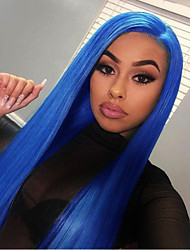 cheap -Synthetic Lace Front Wig Silky Straight Middle Part Lace Front Wig Long Royal Blue Synthetic Hair 18-24 inch Women's Cosplay Adjustable Heat Resistant Blue
