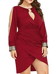 cheap -Women's Daily Going out Basic Sheath Dress - Solid Colored Black Purple Blue XL XXL XXXL XXXXL