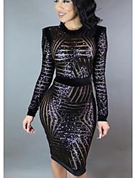 cheap -Women's Bodycon Dress - Solid Colored Black S M L