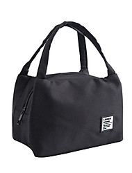 cheap -Unisex Oxford Cloth Lunch Bag Zipper Solid Color Daily Outdoor Handbags White Black
