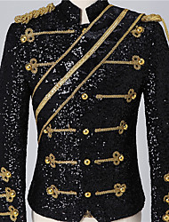 cheap -Prince Victorian Steampunk Napoleon Jacket Winter Suits & Blazers Men's Sequin Costume Black / White Vintage Cosplay Party Halloween Long Sleeve / Coat