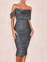 cheap -Sheath / Column Off Shoulder Tea Length Polyester Open Back Cocktail Party / Holiday Dress with Split Front / Ruched 2020