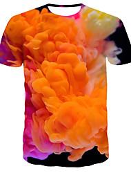 levne -Pánské 3D Tisk Štíhlý Tričko Denní Kulatý Oranžová / Krátký rukáv