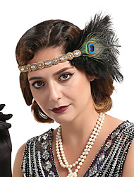 cheap -Women's Statement Vintage 1920s Gemstone & Crystal Feather Fabric Crystal Party Masquerade - Solid Colored