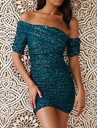 cheap -Sheath / Column Off Shoulder Short / Mini Sequined Sparkle & Shine Formal Evening Dress with Sequin / Ruched 2020