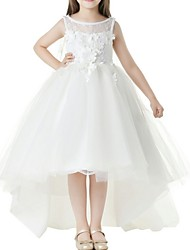 cheap -Ball Gown Asymmetrical Flower Girl Dress - Polyester Sleeveless Jewel Neck with Appliques