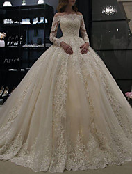 cheap -A-Line Wedding Dresses Off Shoulder Court Train Lace Long Sleeve Illusion Sleeve with Crystals 2020