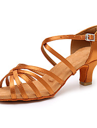 cheap -Women's Dance Shoes Latin Shoes Salsa Shoes Heel Buckle Cuban Heel Dark Brown White Black Buckle / Performance / Satin / Practice