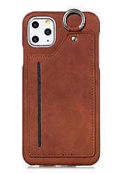 Недорогие -чехол для карты яблока сцены iphone 11 11 pro 11pro макс х х сс х р мс сплошной цвет искусственная кожа задняя карта висит кольцо чехол для мобильного телефона MS
