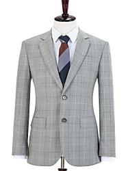 cheap -Gray Windowpane Shadow Check Wool Custom Suit